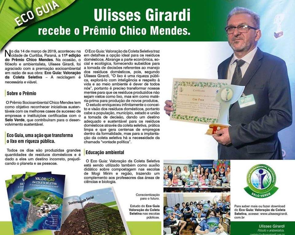 Ulisses Girard recebe o prêmio Chico Mendes